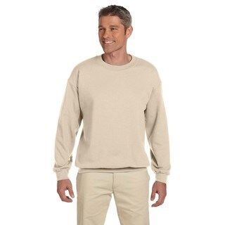 Men's Sandstone Beige 50/50 Fleece Big and Tall Crew-neck Sweater