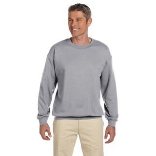 Super Sweats Men's Grey Cotton/Polyester Nublend Fleece Big and Tall Crewneck Sweater