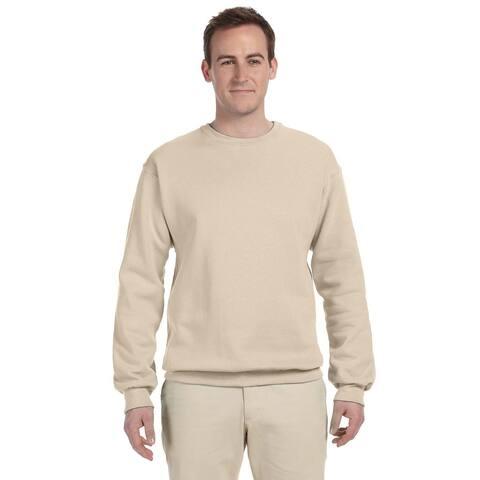Men's Big and Tall Beige Cotton/Polyester Crewneck Sweatshirt