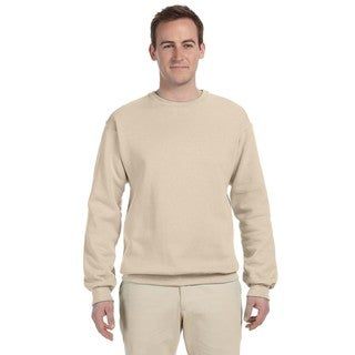 Men's Big and Tall Beige Cotton/Polyester Crewneck Sweatshirt
