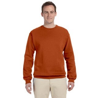 Men's Big and Tall Orange 50/50 Nublend Fleece Crew-Neck Sweater