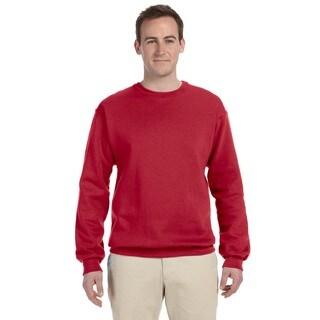 Men's Big and Tall Red 50/50 Nublend Fleece Crew Neck Sweater