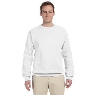 50/50 Nublend Men's Big and Tall White Fleece Crew-Neck Sweater