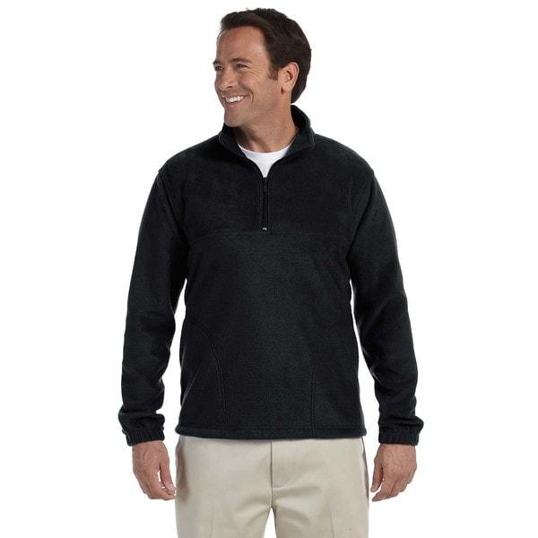 Mens Black Big and Tall Quarter-zip Fleece Pullover Sweater