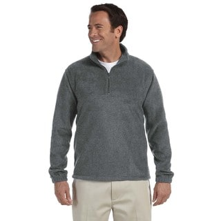 Men's Charcoal Fleece Big and Tall Quarter-zip Pullover Sweater