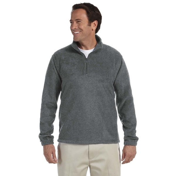 Mens Charcoal Fleece Big and Tall Quarter-zip Pullover Sweater
