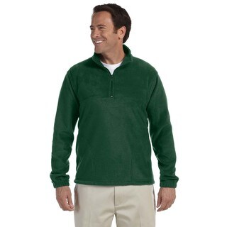 Men's Big and Tall Green Polyester Quarter-zip Fleece Pullover Sweater