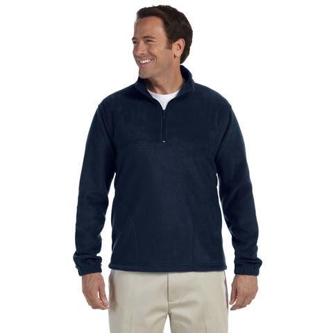 Men's Navy Blue Polyester Big and Tall Quarter-zip Fleece Pullover Sweater