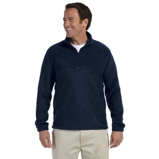 Men's Navy Blue Polyester Big and Tall Quarter-zip Fleece Pullover Sweater