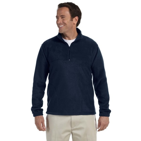 Mens Navy Blue Polyester Big and Tall Quarter-zip Fleece Pullover Sweater