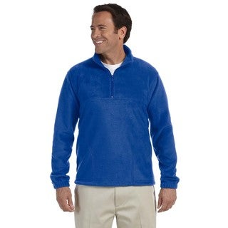 Men's True Royal Blue Polyester Fleece Big and Tall Quarter-zip Pullover Sweater