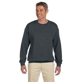 Men's Super Sweats Black Heather 50/50 Nublend Fleece Big and Tall Crewneck Sweater