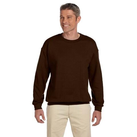 Men's Chocolate 50/50 Fleece Big and Tall Crew-neck Sweater