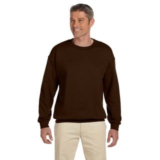 Men's Chocolate 50/50 Fleece Big and Tall Crew-neck Sweater