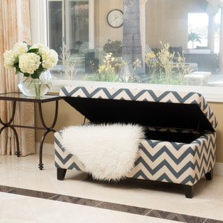 Breanna Chevron Fabric Storage Ottoman by Christopher Knight Home