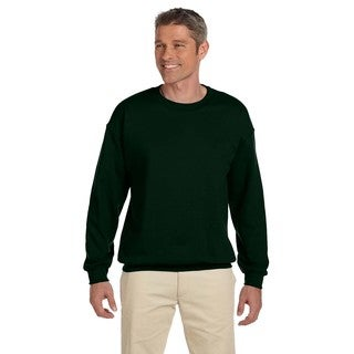 Men's Big and Tall Super Sweats Forest Green 50/50 Nublend Fleece Crewneck Sweater