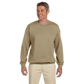 Men's Super Sweats Khaki 50/50 Nublend Fleece Big and Tall Crewneck Sweater