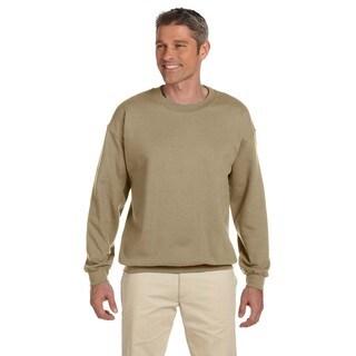 Men's Super Sweats Khaki 50/50 Nublend Fleece Big and Tall Crewneck Sweater