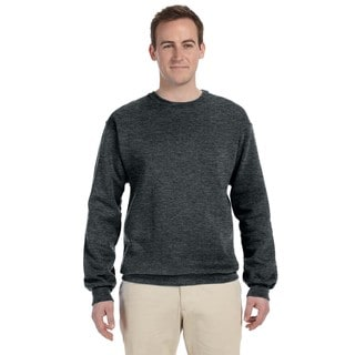 Men's Black Heather 50/50 Nublend Fleece Big and Tall Crew-neck Sweater
