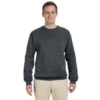 Men's Charcoal Grey 50/50 Nublend Fleece Big and Tall Crewneck Sweater