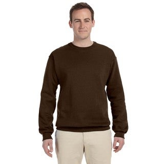 Men's Big and Tall Chocolate Brown Cotton-blended Crewneck Sweater