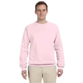 Men's Classic Pink 50/50 Nublend Fleece Big and Tall Crew-neck Sweater
