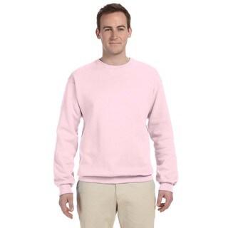 Men's Classic Pink 50/50 Nublend Fleece Big and Tall Crew-neck Sweater