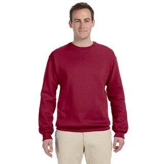 Men's Big and Tall Fleece Crimson Crew Neck Sweater