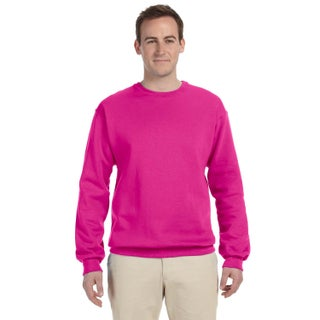 Men's Cyber Pink 50/50 Fleece Big and Tall Crew-neck Sweater (3 options available)