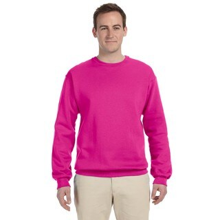 Men's Cyber Pink 50/50 Fleece Big and Tall Crew-neck Sweater