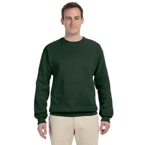 Men's Nublend Forest Green Cotton/Polyester Fleece Big and Tall Crewneck Sweater
