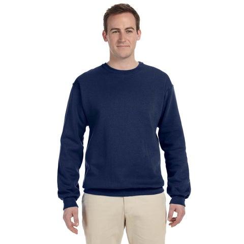 Men's Navy 50/50 Nublend Fleece Big and Tall Crewneck Sweater