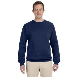Men's Navy 50/50 Nublend Fleece Big and Tall Crewneck Sweater