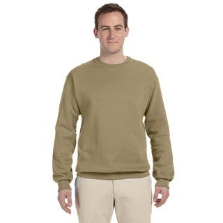50/50 Nublend Fleece Men's Big & Tall Crew-Neck Sweater Khaki
