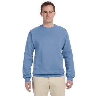 Men's Light Blue 50/50 Nublend Fleece Big and Tall Crewneck Sweater