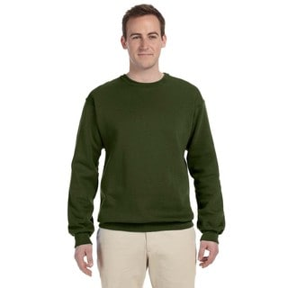 Men's Military Green 50/50 Nublend Fleece Big and Tall Crew-neck Sweater