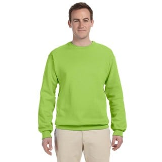 Men's Neon Green 50/50 Nublend Fleece Big and Tall Crew-neck Sweater