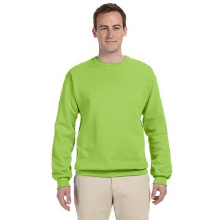 Men's Neon Green 50/50 Nublend Fleece Big and Tall Crew-neck Sweater