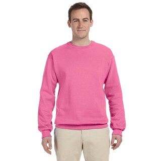 Men's Neon Pink 50/50 Nublend Fleece Big and Tall Crewneck Sweater (3 options available)