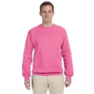 Men's Neon Pink 50/50 Nublend Fleece Big and Tall Crewneck Sweater