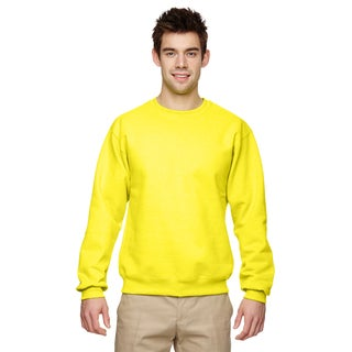 Men's Neon Yellow 50/50 Fleece Big and Tall Crew-neck Sweater