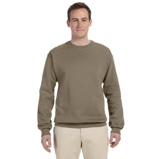 Men's Safari Green 50/50 Nublend Fleece Big and Tall Crew-neck Sweater
