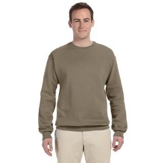 Men's Safari Green 50/50 Nublend Fleece Big and Tall Crew-neck Sweater