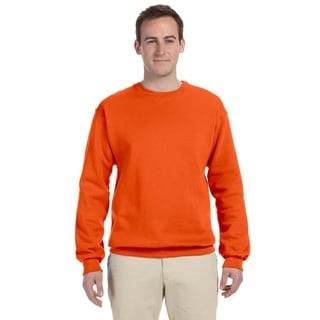 Men's Big and Tall Orange 50/50 Nublend Fleece Crew Neck Sweater