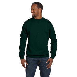 Men's Deep Forest Green 50/50 Fleece Big and Tall Comfortblend Ecosmart Crew-neck Sweater