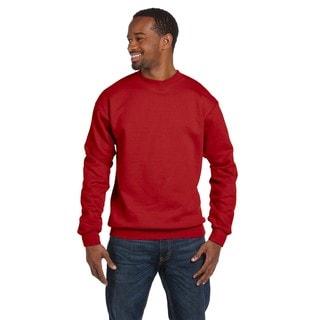 Men's Deep Red Comfortblend Ecosmart 50/50 Fleece Big and Tall Crewneck Sweater