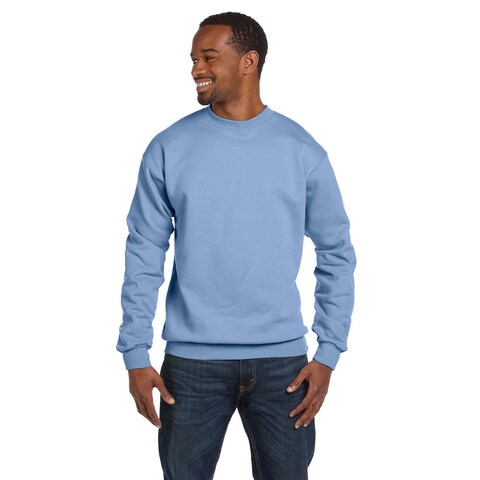 Comfortblend Ecosmart Men's Light Blue 50/50 Fleece Big and Tall Crew-neck Sweater