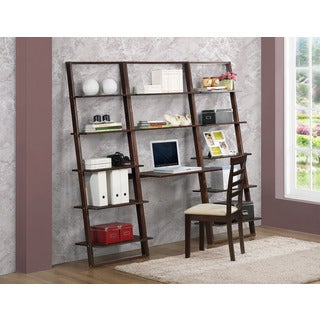 Arlington Cappucino Wood Desk with 2 Wall Bookcases