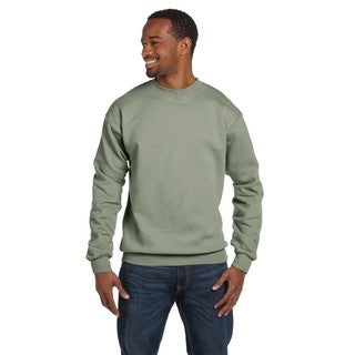 Comfortblend Men' Ecosmart 50/50 Fleece Big and Tall Crew-neck Green Stonewash Sweater