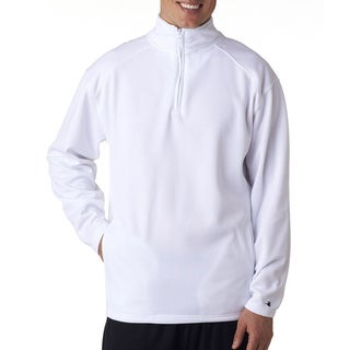 Men's White Poly Fleece Big and Tall Quarter-zip Pullover Sweater